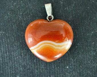 Pretty Orange Heart agate Necklace