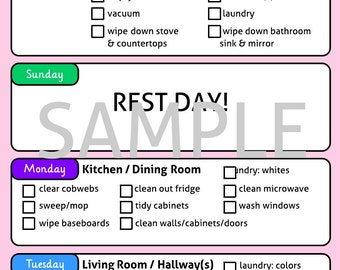Cleaning Schedule for use with Erin Condren Life Planner (TM)  - PDF Download