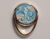 Mobile Phone Ring Holder *Original Artwork - Blue Fleur de Lis* Cell Phone Stand Purse Bridesmaid Gift