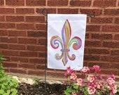 Garden Flag *Original Artwork - Rainbow Fleur de Lis*