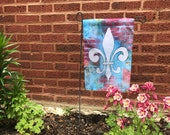 Garden Flag *Original Artwork - Red Brick Fleur de Lis*