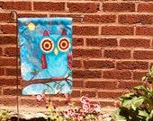 Garden Flag *Original Artwork -Golden Eyes* Owl Art