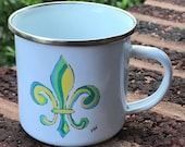Camping Mug *Original Artwork - Multi-color Fleur de Lis*