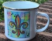 Camping Mug *Original Artwork - Music in the Air Fleur de Lis*