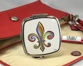 Compact Mirror *Original Artwork - Rainbow Fleur de Lis* Double Mirror Compact Purse Bridesmaid Gift