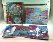 Red Brick Postcard Set of 5 Fleur de Lis Arch Dragonfly Believe Notecards