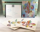 Fleur de Lis Postcard Set of 5 Rainbow Multicolor