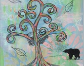 Adventure Hike - 8x8 Print - Colorful Rainbow Wisdom Tree Bear Travel