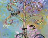 Bike Ride 2 - 5x7 & 8x10 Prints - Colorful Rainbow Wisdom Trees