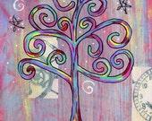 Stargazing - 5X7 & 8x10 Prints - Colorful Wisdom Rainbow Tree and Stars
