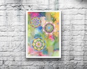 ORIGINAL Mandala #10 - 5x7 Acrylic Painting on Canvas Board - Dreamy Green Blue Yellow Pink Gold Hand Painted
