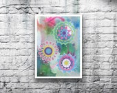 ORIGINAL Mandala #11 - 5x7 Acrylic Painting on Canvas Board - Dreamy Green Blue Yellow Pink Abstract Hand Painted
