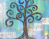Shine - 8x8 Print - Colorful Rainbow Wisdom Tree Chandelier Music