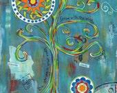 Grow - 5x7 & 8x10 Prints - Colorful Rainbow Trees Mandalas Inspirational Graduation