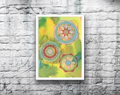 ORIGINAL Mandala #7 - 5x7 Acrylic Painting on Canvas Board - Dreamy Lime Green Yellow Pink Red Hand Painted