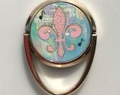 Mobile Phone Ring Holder *Original Artwork - Pink Fleur de Lis* Cell Phone Stand Purse Bridesmaid Gift