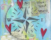 Know Your Heart - 8x8 Print -  Blue Sky Ocean Compass