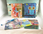Fly Away Postcard Set of 5 - Owl Blue Bird Dragonfly Notecards