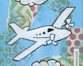 Airplane - 8x8 Print - Airplane Adventure in the Clouds!