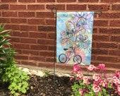 Garden Flag *Original Artwork - Bike Ride*  Rainbow Wisdom Tree