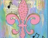 Pink Gold Fleur de Lis - 8x8 Matted Print