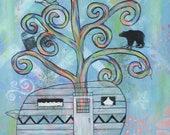 Vintage Camper - 5x7 & 8x10 Prints - Colorful Rainbow Trees Vintage Camper