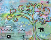 Mel's Camper - 5x7 & 8x10 Prints - Colorful Rainbow Trees Vintage Camper