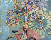 Bike Ride - 5x7 & 8x10 Prints - Colorful Rainbow Wisdom Trees