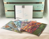 Wisdom Tree Postcard Set of 5 - Rainbow Multicolor Inspire Dream Write Your Own Story Create Mandala Notecards