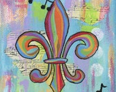 Rainbow Fleur de Lis - 8x8 Matted Print