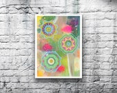ORIGINAL Mandala #2 - 5x7 Acrylic Painting on Canvas Board - Dreamy Blue Pink Yellow Lime Green Hand Painted