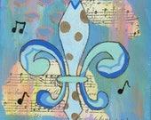 Blue Gold Fleur de Lis - 8x8 Matted Print