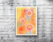 ORIGINAL Mandala #8 - 5x7 Acrylic Painting on Canvas Board - Dreamy Orange Dreamsicle Pink Yellow Lime Green Hand Painted