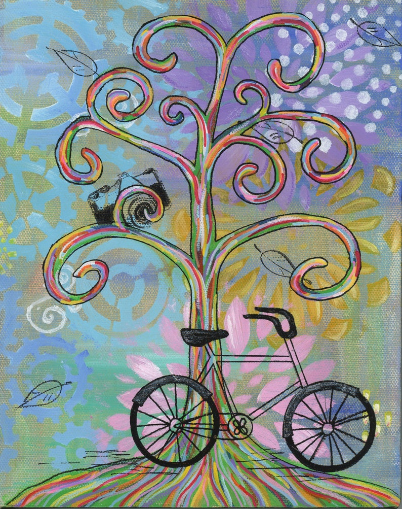 Bike Ride 2  5x7 & 8x10 Prints  Colorful Rainbow Wisdom image 0