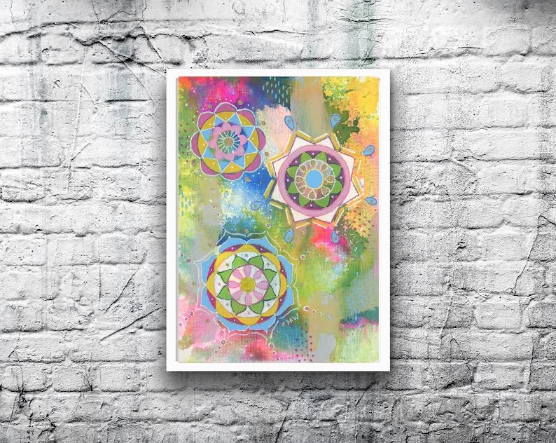 ORIGINAL Mandala 10  5x7 Acrylic Painting on Canvas Board  image 0