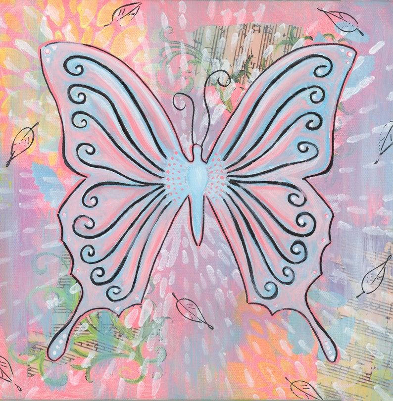 Butterfly  8x8 Print   Dreamy pink butterfly whimsy colorful image 0