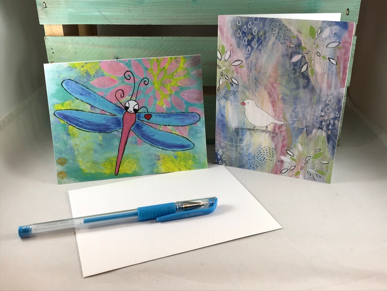 Fly Away Greeting Card Set of 4  Owl Butterfly Dragonfly image 0