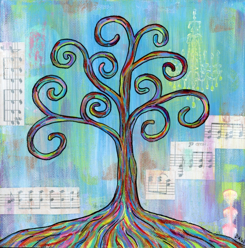 Shine  8x8 Print  Colorful Rainbow Wisdom Tree Chandelier image 0