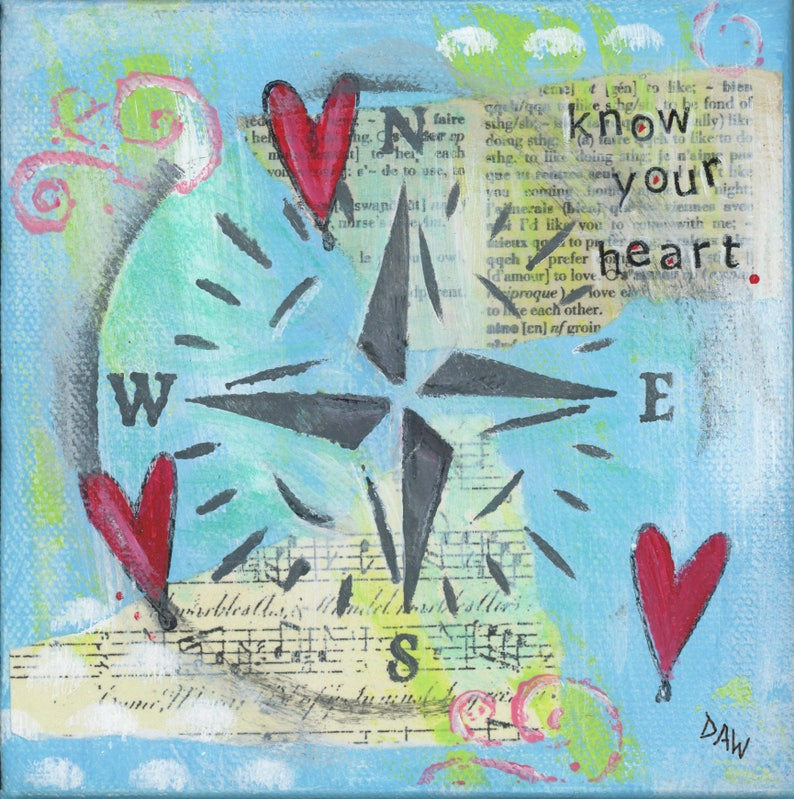 Know Your Heart  8x8 Print   Blue Sky Ocean Compass image 0