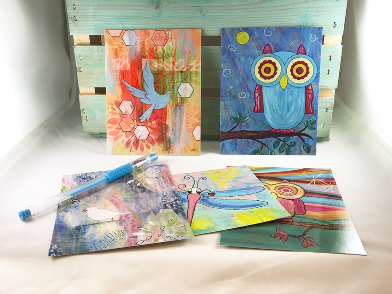 Fly Away Postcard Set of 5  Owl Blue Bird Dragonfly Notecards image 0