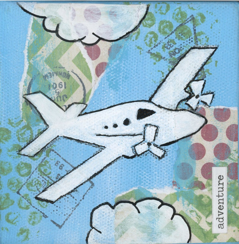 Airplane  8x8 Print  Airplane Adventure in the Clouds image 0