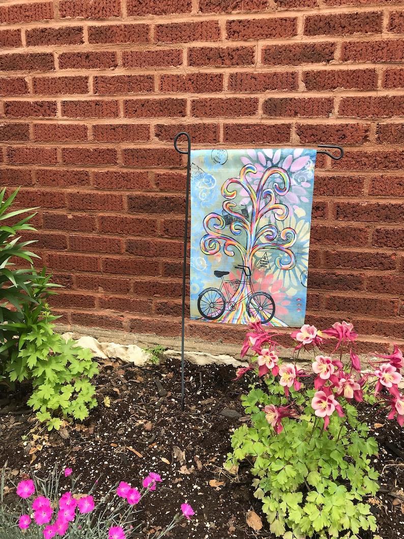 Garden Flag Original Artwork  Bike Ride  Rainbow Wisdom image 0