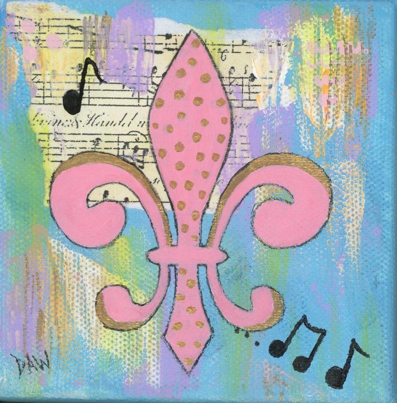 Pink Gold Fleur de Lis  8x8 Matted Print image 0