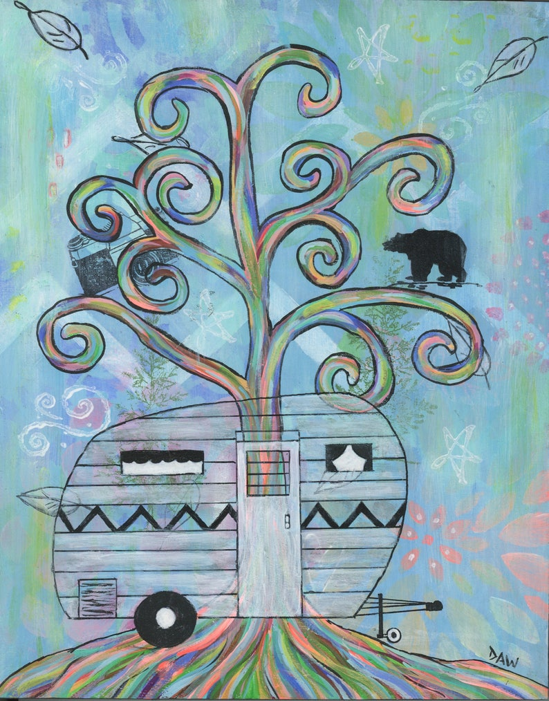 Vintage Camper  5x7 & 8x10 Prints  Colorful Rainbow Trees image 0