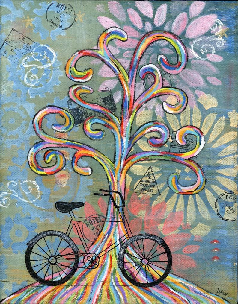 Bike Ride  5x7 & 8x10 Prints  Colorful Rainbow Wisdom Trees image 0