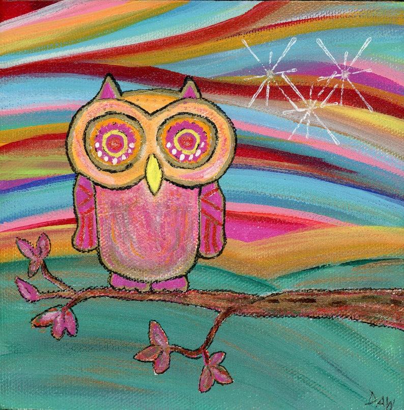 Pink Owl  8x8 Print   Rainbow Sky Colorful Pink Owl image 0