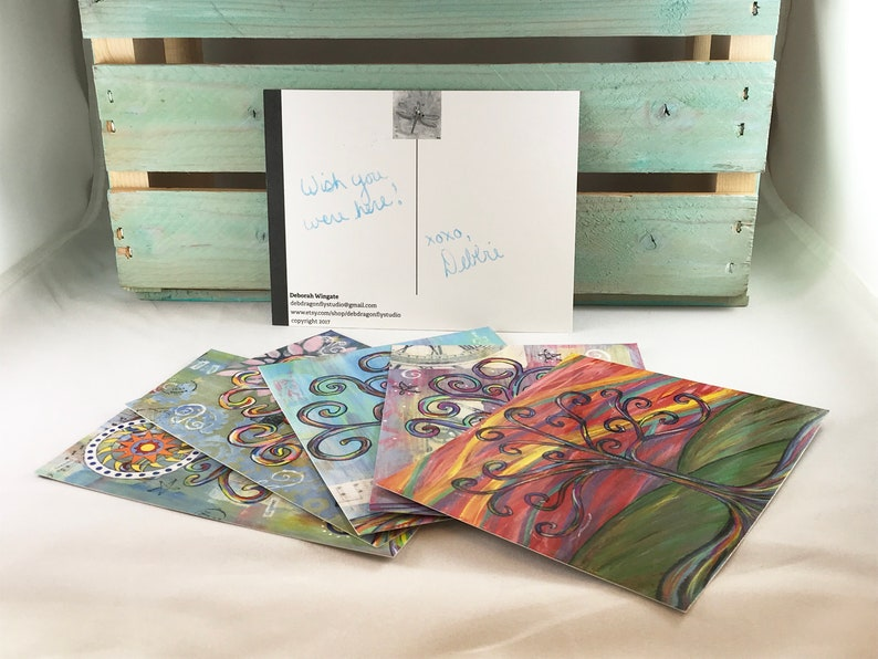 Wisdom Tree Postcard Set of 5  Rainbow Multicolor Inspire image 0