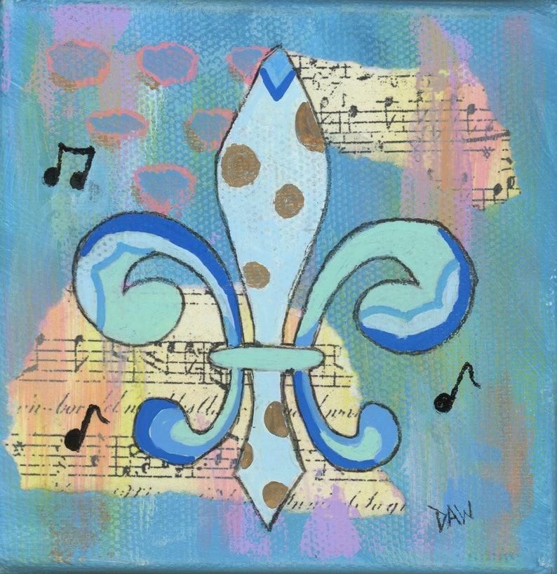 Blue Gold Fleur de Lis  8x8 Matted Print image 0