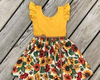 0e33fbebecbc sunflower dress / floral dress / flutter sleeves dress / baby girls dresses  / toddler dresses/
