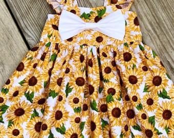 8663212bc936 Fluffy sleeve sunflower dress, sunflower big bow dress, toddler  thanksgiving outfits, mustard dress, fall flower girls sunflower dresses,